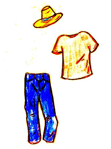 パナマ帽✖️デニム、Tシャツのイラスト