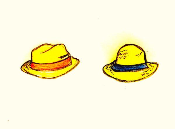 パナマ帽とストローハットのイラスト