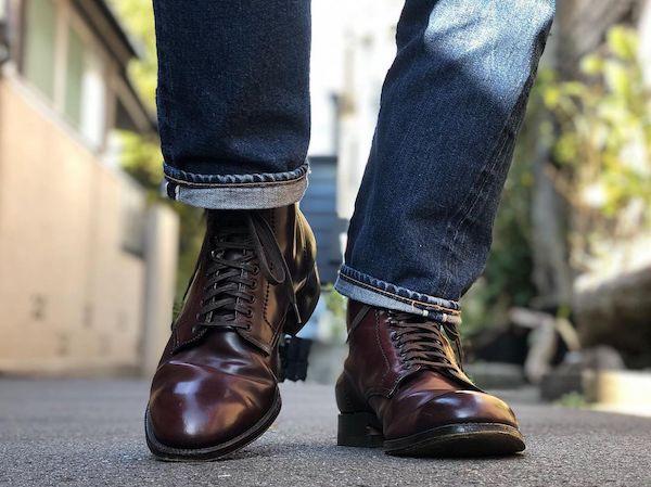 オールデン4561Hの履き皺の写真